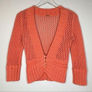 FREE PEOPLE Orange Open Knit Cropped Cardigan